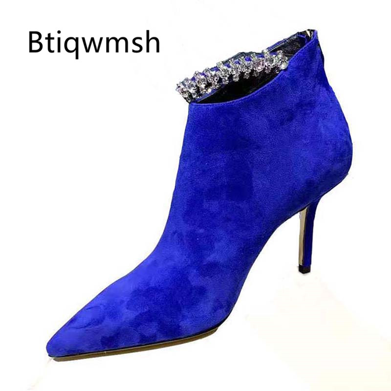 2019 Newest Blue Suede Ankle Boots Women Point Toe Rhinestone Crystal Chain High Heel Shoes Woman Fashion Party Shoes