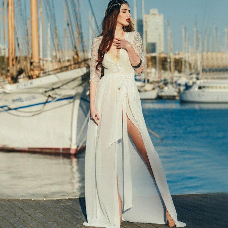New Style Chiffon Spell Lace Beach Sun Protection Clothing Bathing Suit Blouse Holiday Wedding Dress Honeymoon-Bikini Coat Women