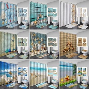 Conch Starfish Shell Shower Curtain Bathroom Curtains Non Slip Beach Style Pattern Anti-skid Carpet Toilet Lid Cover Bath Mat