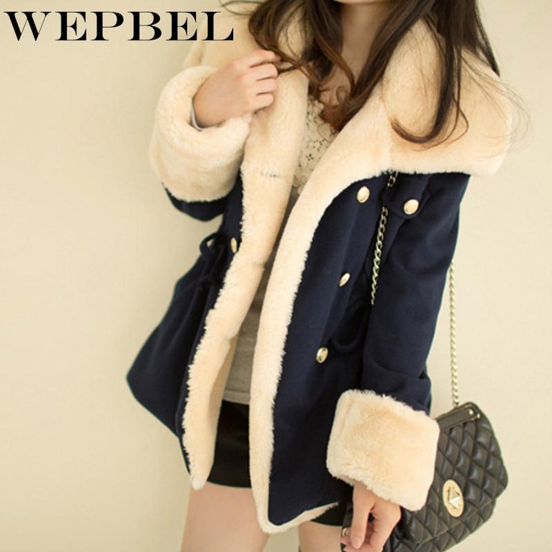 WEPBEL Winter Warm Coats Women Wool Slim Double Breasted Wool Coat Winter Jacket Women Fur Women's Coat Jackets