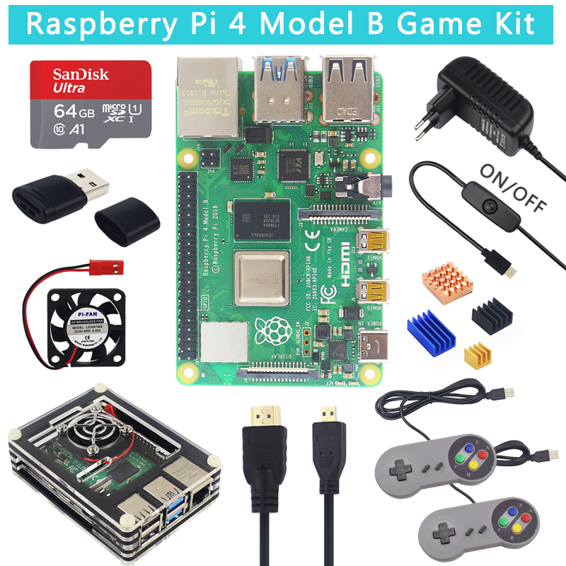 UK Raspberry Pi 4 Model B Game Kit + 64 32 GB SD Card + Acrylic Case +Fan+ Switch Power Supply  + Gamepads + HDMI Cable For Pi 4