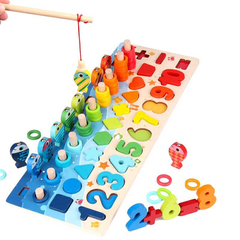 Лидер продаж для раннего развития детей магнитные деревянная игрушка Монтессори обучения для рыбалки с геометрическим рисунком Форма позн...