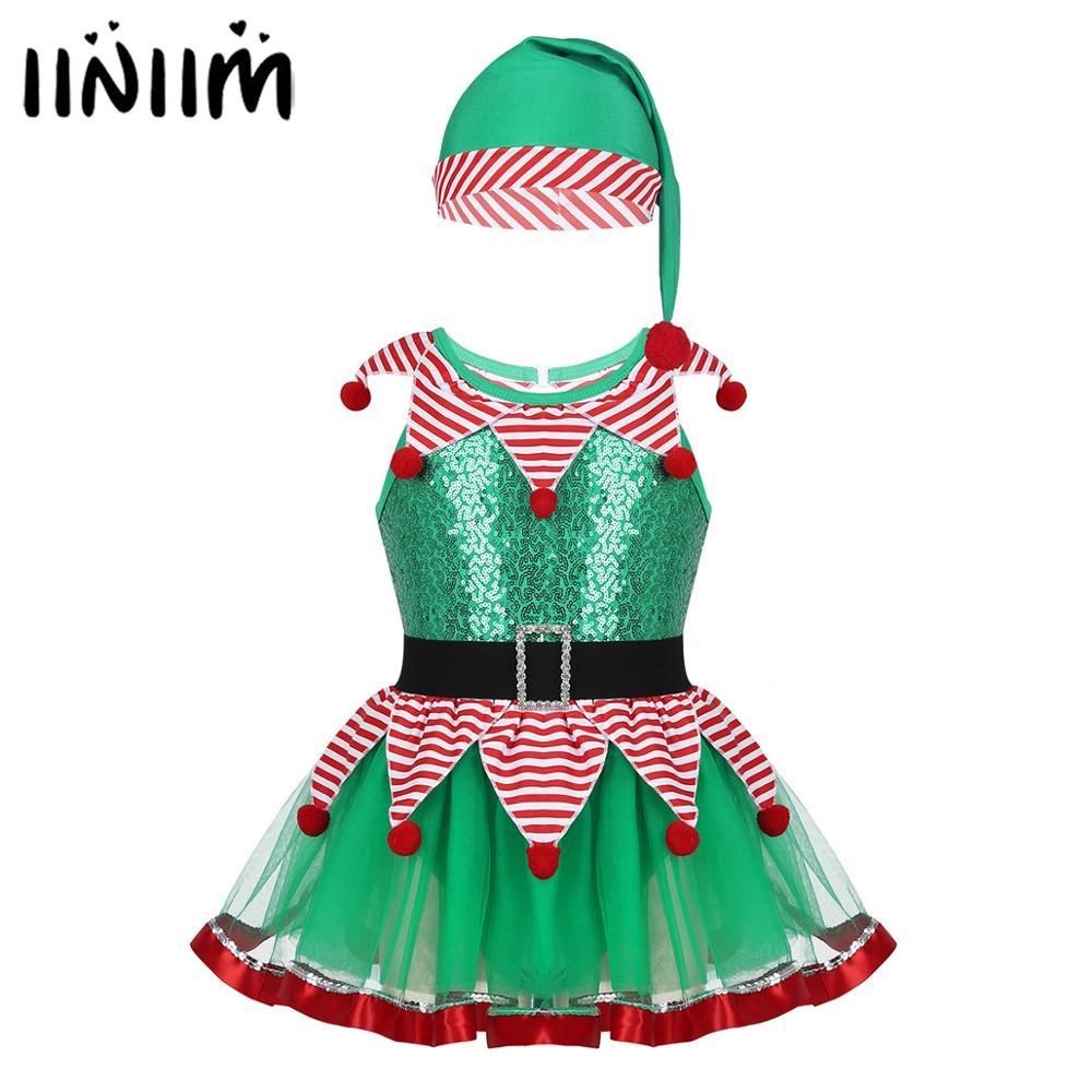 Iiniim Kids Girls Christmas Fairy Dancewear Gymnastics Revolution Peter Pan Costumes Striped Mesh Tutu Leotard Dress With Hat