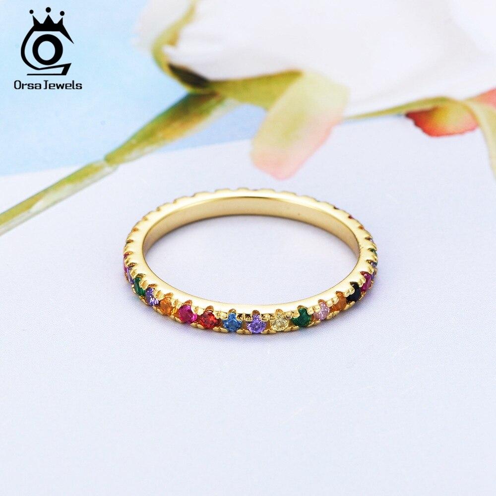 ORSA JEWELS 925 mujeres de plata esterlina anillos colorido AAA Zircon de oro de color de la boda de plata banda de anillo de dedo de la joyería 2019 OSR63-G