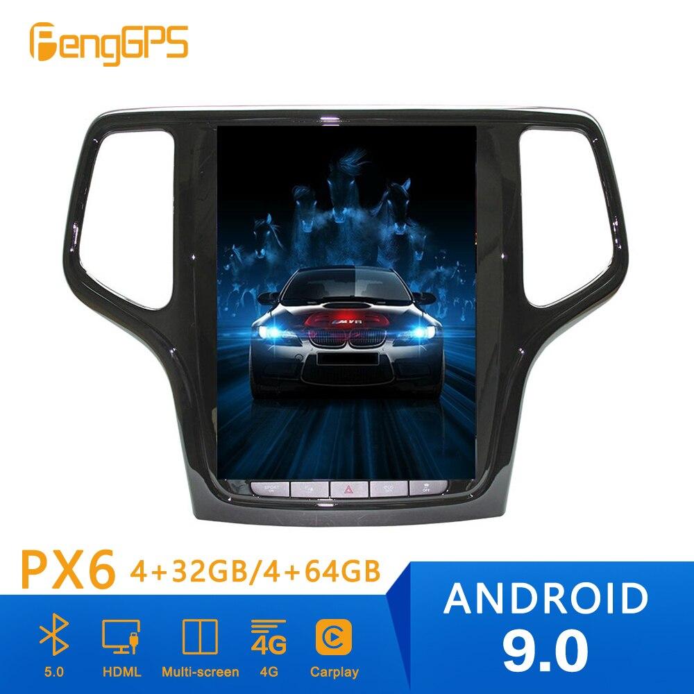 Lecteur DVD de lecteur GPS   Android 9 PX6 4 + 64G, Style Tesla, Navigation GPS pour JEEP Grand Cherokee 2014 + poste de tête stéréo, lecteur multimédia