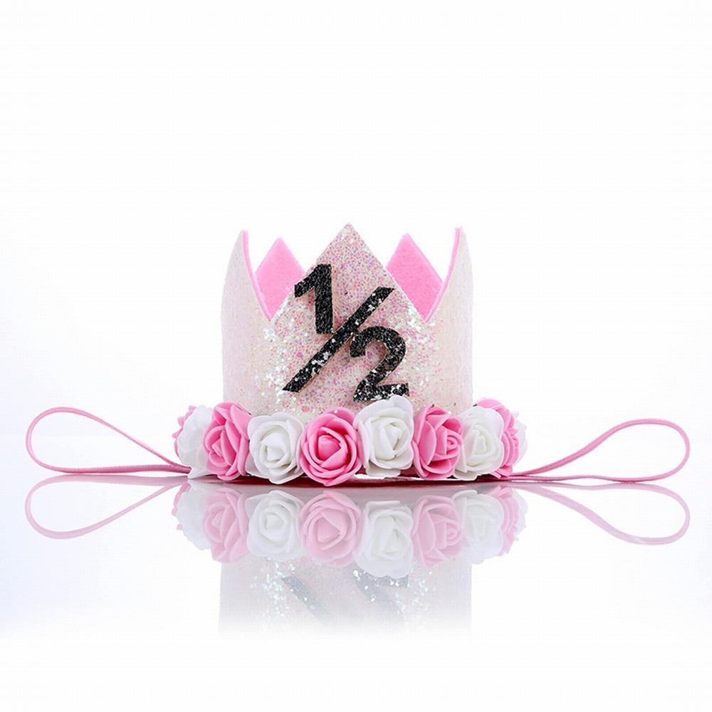 Happy Birthday Half 1/2 Years Old Children's headband Crown Hair band Princess Hat Crown   Headwear   Ornament Birthday Party Gift