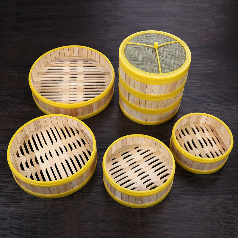 Chinese Kitchen Natural Bamboo Steamer Lid Cover Dumplings Steamed Stuffed Bun Cantonese Style Tea Restaurant Steaming