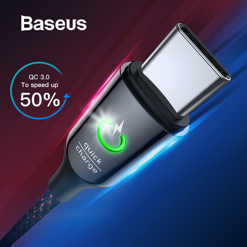 Baseus USB Type C Cable for Xiaomi Redmi Note 7 Pro Quick Charge 3.0 USB C Cable Intelligent Power Off LED USB Cable for Xiaomi8-in Mobile Phone Cables from Cellphones & Telecommunications on AliExpress