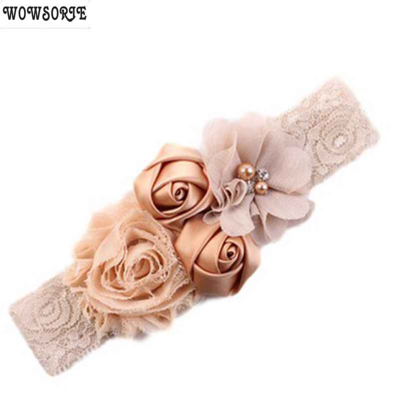 baby headband rose hair band Chiffon flower lace elastic Rhinestone newborn headbands children girls hair accessories 18colors