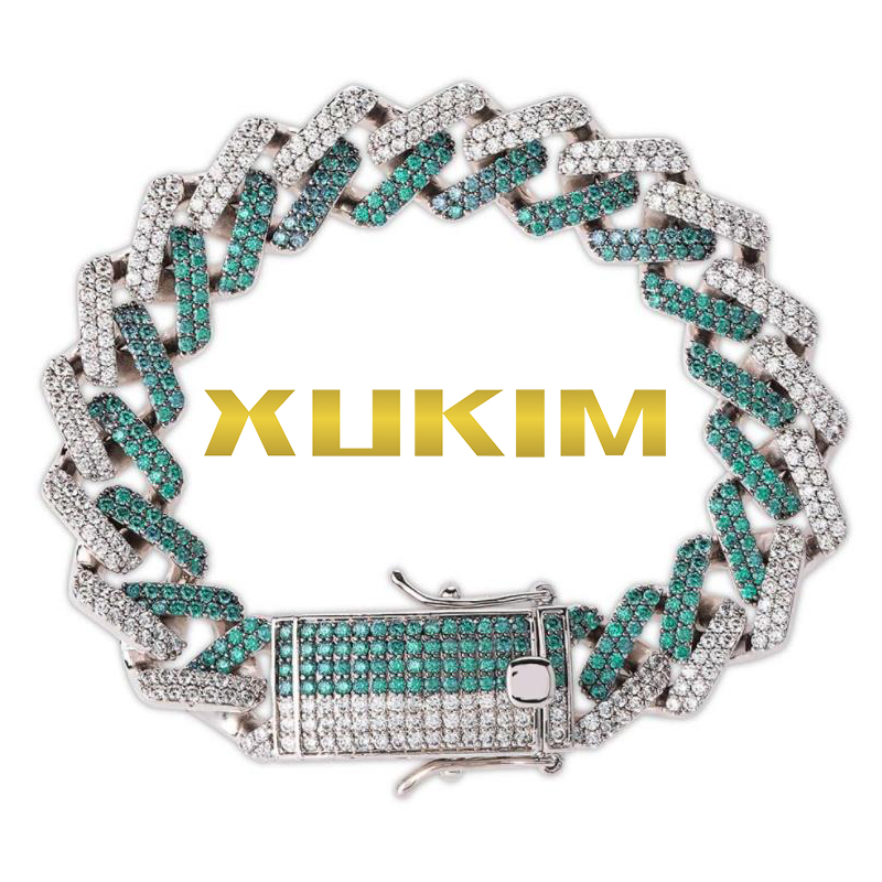 BH319 Xukim bijoux Miami chaîne Hip Hop glacé vert menthe chaîne cubaine Bracelet chaîne chaîne