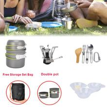 Portable Outdoor Picnic Hiking Camping 1-2 Person Cookware Set  Pot and Gas Stove Combinate Cooker цена 2017