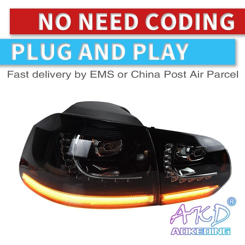 AKD Tuning Cars Tail Lights For V W Golf 6 Golf6 MK6 R20 Taillights LED DRL Running Lights Fog Lights Dynamic Signal Light