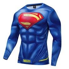 New Marvel Superman Black Men T Shirt 3D Print Compression Top T-Shirt Men Long Raglan Sleeve Fitness Cosplay Costume Slim Fit цена 2017