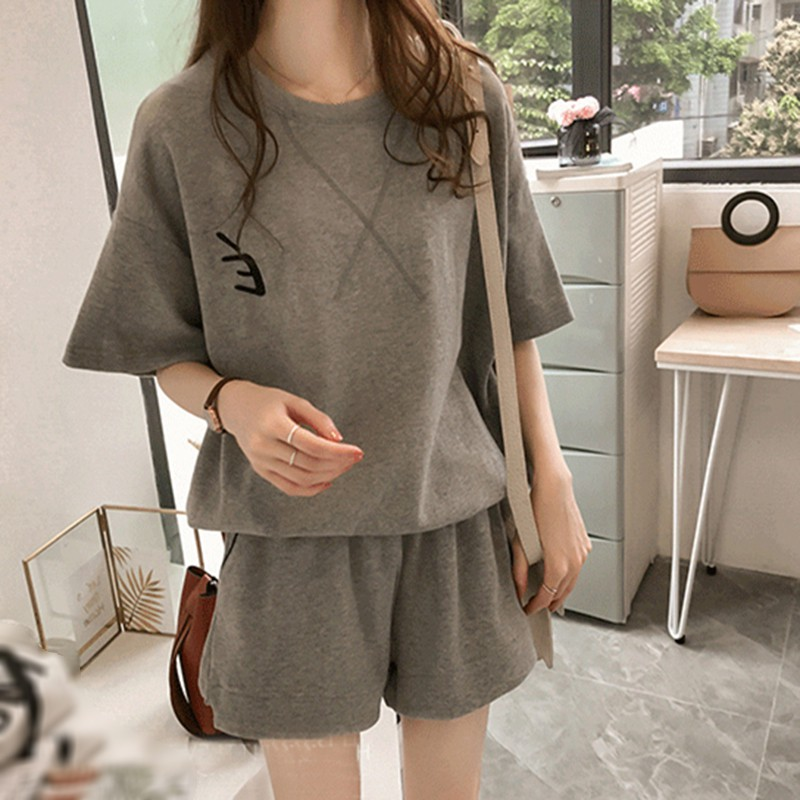 2020 Summer New Korean Version Of Loose Print Students Wild Casual Shorts Tops Two-piece Women's Clothing