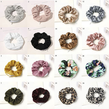 Velvet Scrunchies Zipper Hair Scrunchies Women Scrunchy Elastic Hair Bands Girls Headwear Ponytail Holder Hair Ties Small Bag 20 pcs lot solid velvet hair scrunchies elastic hair ties bands women girls headwear ponytail holder korean hair accessories