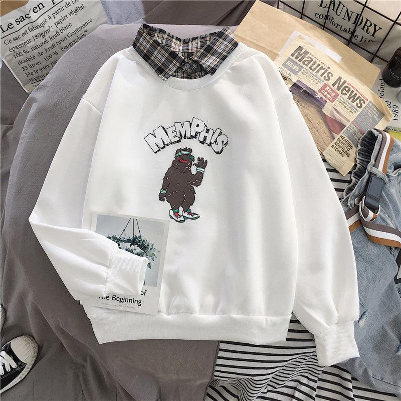 Cute Bear oversized Kawaii women sweatshirt fashion pullovers ladies plus size tops hoodie casual ladies korean style streetwear 17