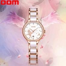 цена на DOM Women Watches Fashion Ceramics Watchband Diamond Wrist Watch Top Luxury Brand Dress Ladies Gold Quartz Clock G-1271G-7M2