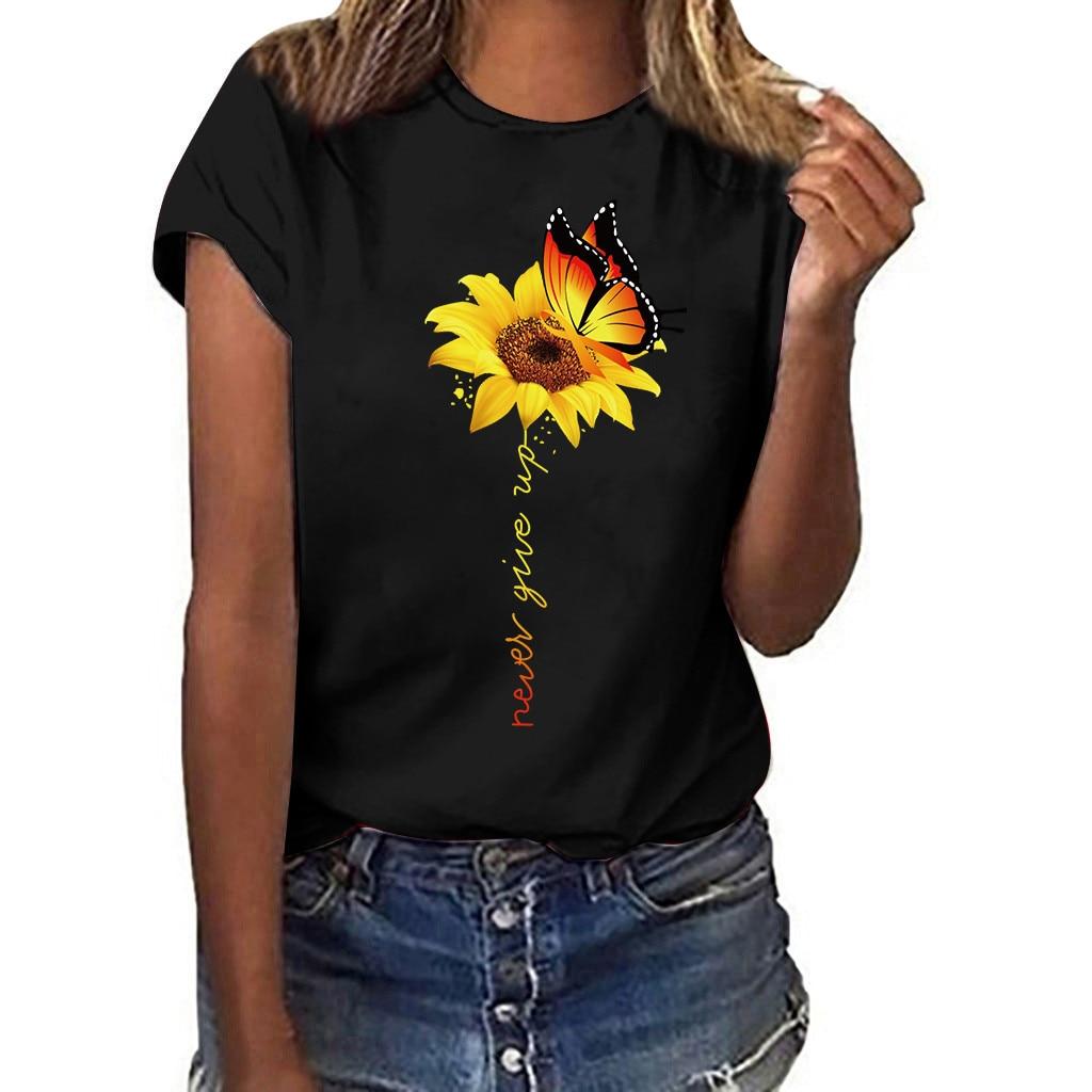 Women Plus Size Sunflower Print Butterfly T-Shirt Summer Short Sleeved T-shirt Tops FJWL