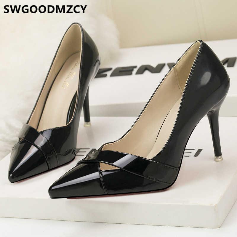 Fetish nero, tacchi alti delle donne delle pompe scarpe sexy tacchi scarpe di marca delle donne di lusso 2019 estremo tacchi alti sexy di san valentino scarpe
