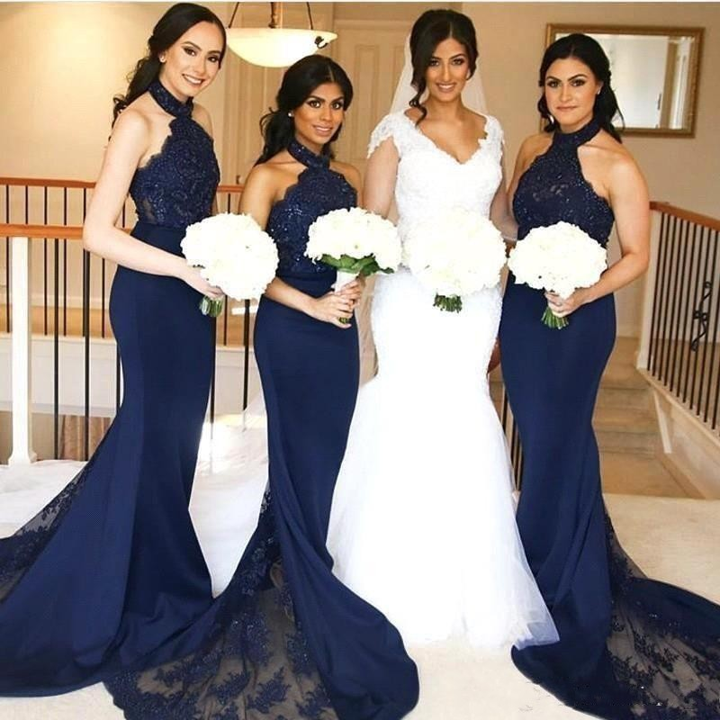 Sexy Dark Navy Bridesmaid Dresses Mermaid Halter Neck with Lace Maid of Honor Gowns Sleeveless Formal Wedding Guest Dresses