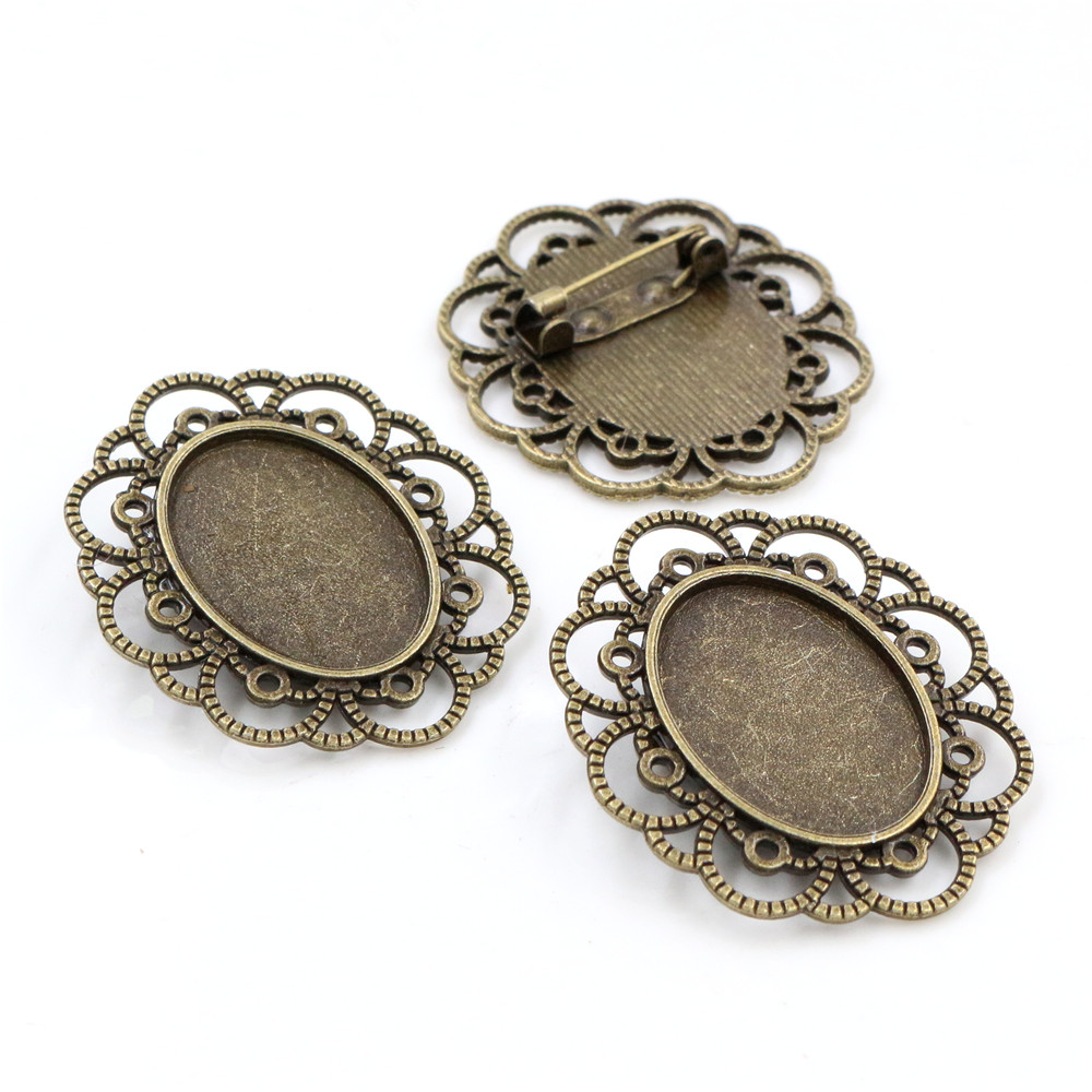 3pcs 18x25mm Inner Size Antique Bronze Brooch Pin Cameo Cabochon Base Setting (C3-10)