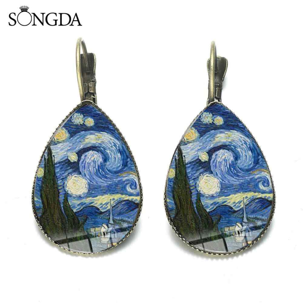 Klasik Van Gogh Starry Night Teardrop Anting-Anting Gustav Klimt Cinta Ibu Bayi Lukisan Kaca Dome Air Drop Anting-Anting