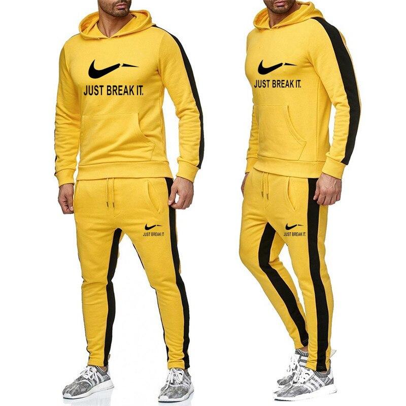 2 Pieces / Set Of Men's Sunshine Print Long-sleeved Hooded Cardigan Casual Outdoor Sports Suit Sweatshirt + Pants