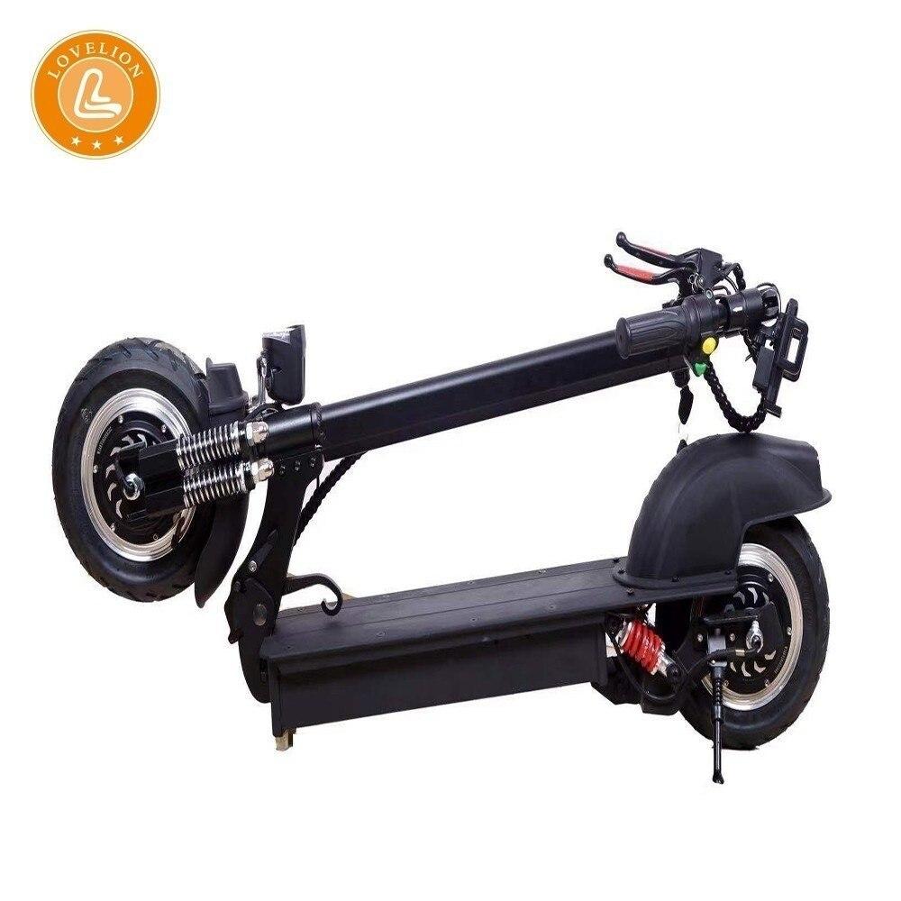 LOVELION pliant double entraînement électrique Portable scooter 48V li-on batterie électrique noir 10 pouces anti-déflagrant hors route pneu
