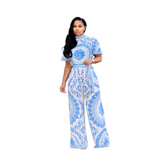2 Piece Set Women's Printed O-Neck T-shirt And Wide-Leg Pants Blue And White Porcelain Two-Piece Set Summer Women Clothes цена и фото
