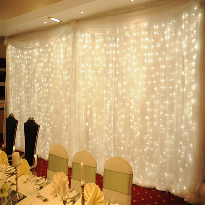 1.5x1.5m Warm White LED Curtain Icicle Lights STRING Fairy Holiday Christmas Lights Garlands For Party Garden Wedding Decoration