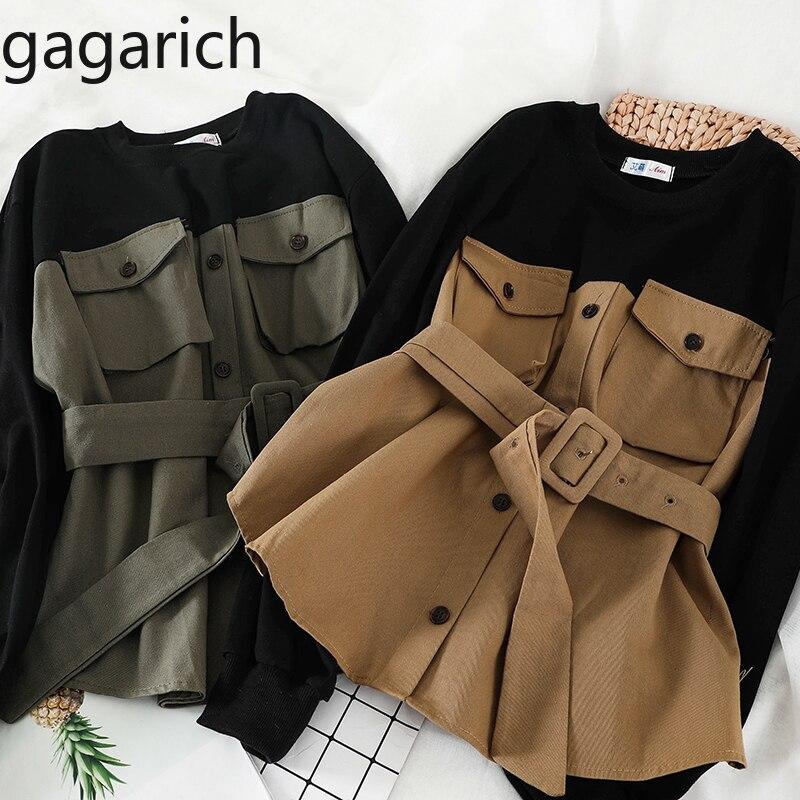 Gagarich Women Hoodies New Korean Autumn Winter Fashion Pocket Shirt Female Fake Two Piece Bodysuit Belt Thin Vintage Tops 2020