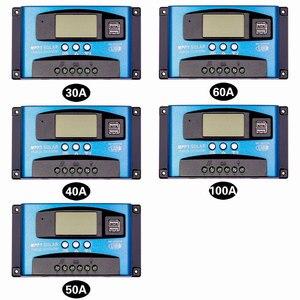 Image 2 - 30/40/50/60/100A MPPT שמש תשלום בקר כפולה USB LCD תצוגת 12V 24V אוטומטי שמש פנל מטען רגולטור עם עומס