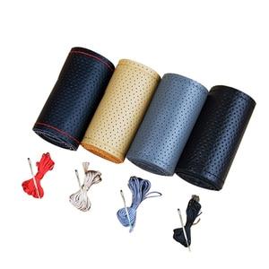 Image 5 - Capa 2017 de couro genuíno para volante, acessório volante esportivo, caixa artesanal faça você mesmo com agulhas e fio