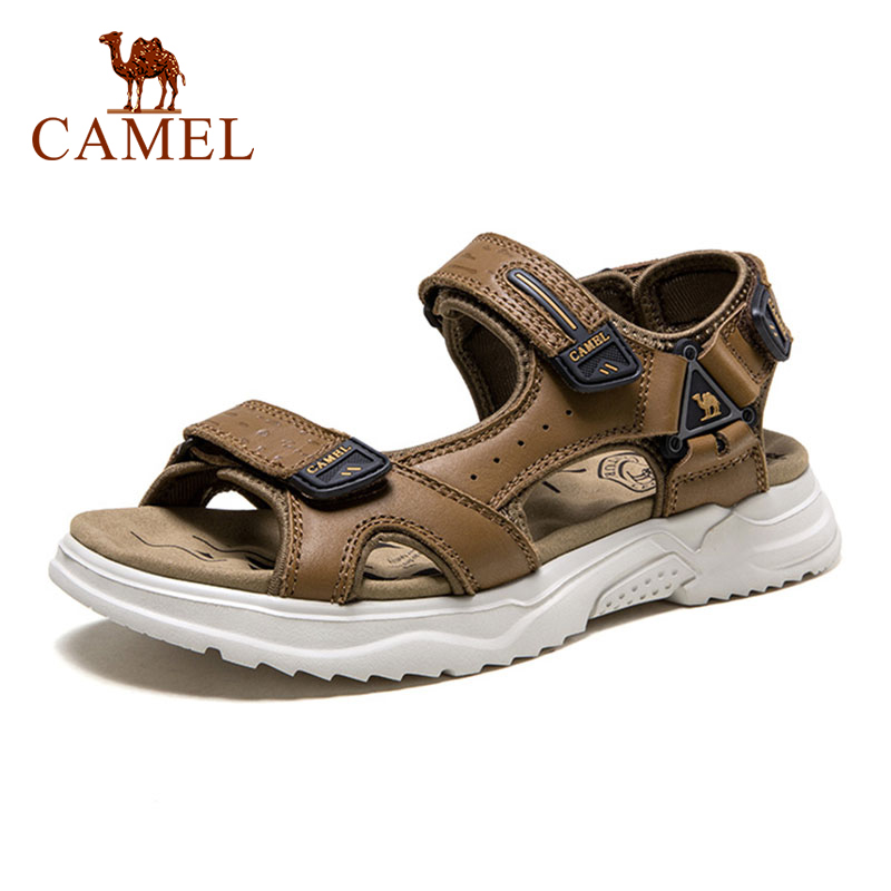 CAMEL 2021 Summer New Men Genuine Leather Breathable Casual Sandals Thick Bottom Beach Shoes Soft Sole Sports Trend Sandals Men