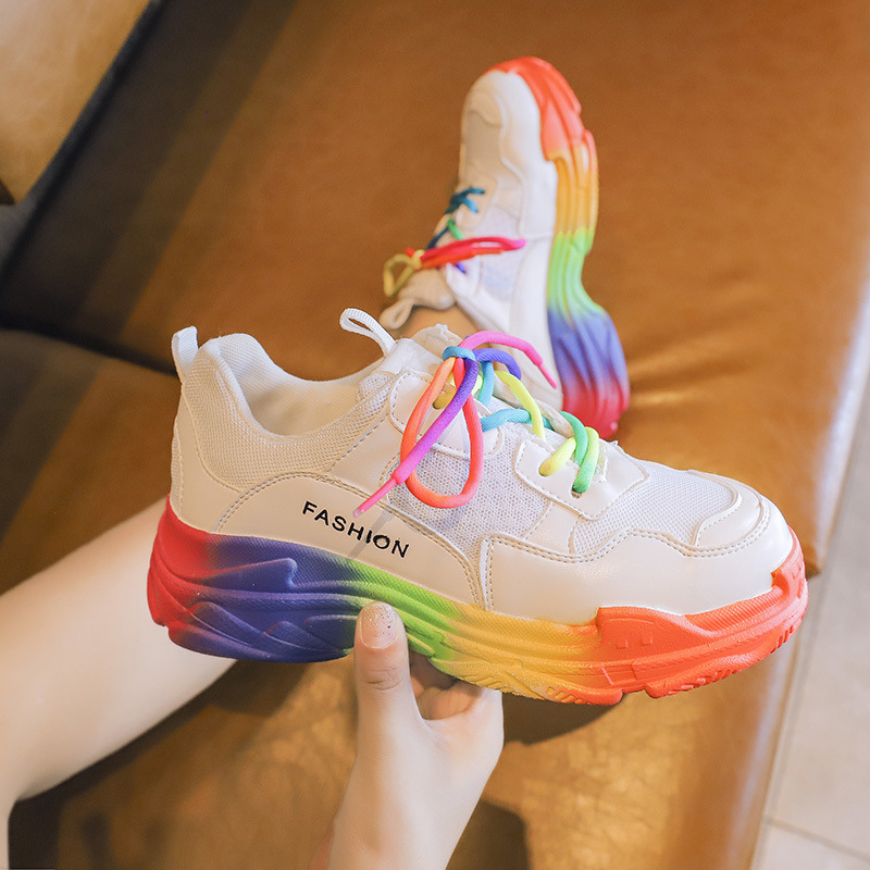 CINESSD Mesh Breathable Casual Shoes Women Sneakers 2020 Platform Sneakers Women New Fashion Med Heel Rainbow Summer Shoes Woman