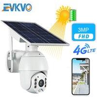 EVKVO-cámara IP de 3MP con Panel Solar, cámara de vigilancia en exterior, impermeable, CCTV, casa inteligente, dos vías, batería de voz, 4G, FHD
