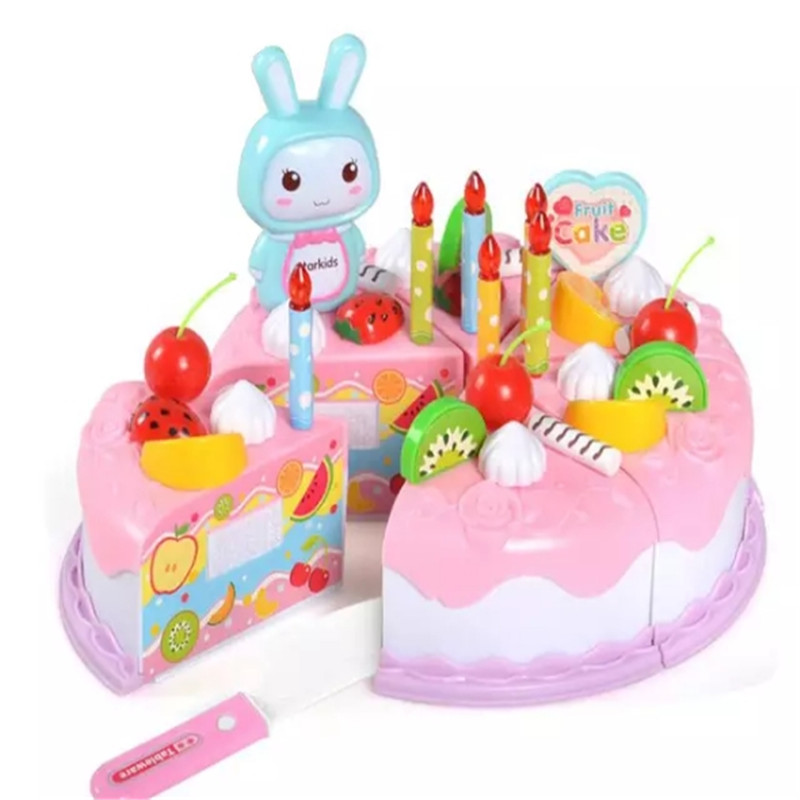 Kitchen Toys Diy Plastic Birthday Cake Toys Pretend To Cut Cake Games Friends Play House Puzzle Parent-Child Games Birthday Gift image