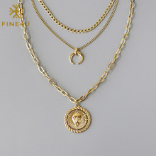 FINE4U N758 Stainless Steel Layered Choker Necklace Lion Head Coin Medal and Crescent Moon Pendant Necklace for Women Jewelry