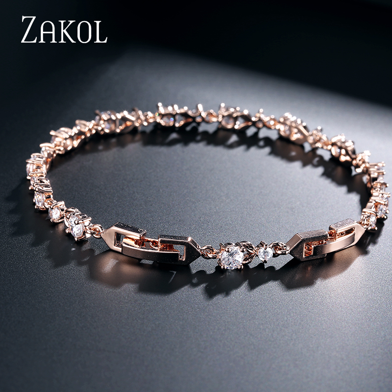 ZAKOL Exquisite Oval Zirconia Crystal Leaf Bracelet Bangles Shiny Rose Gold Color CZ Zircon Stone Jewelry For Girl Women FSBP134