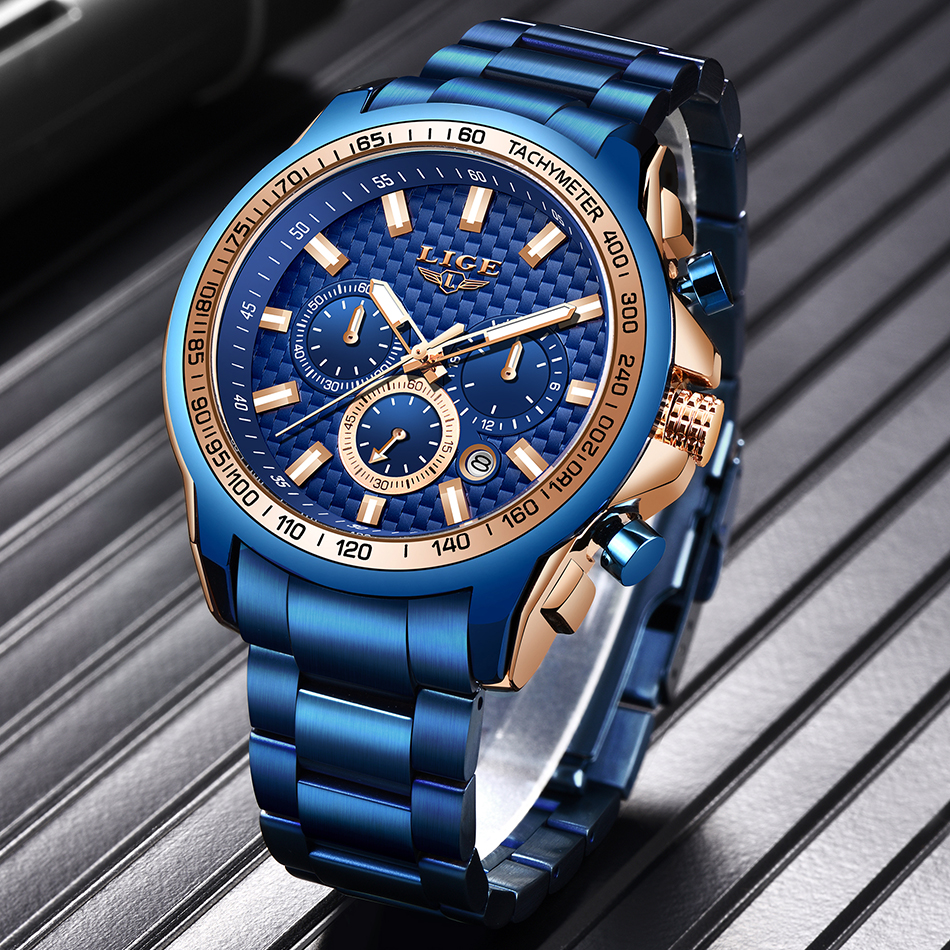 H8ba81680430e4d34a3b46256e525b6a5t - LIGE New Fashion Blue Watch,Mens Watches Top Brand Luxury Clock Man Military Chronograph Quartz Watch Men Relogio Masculino