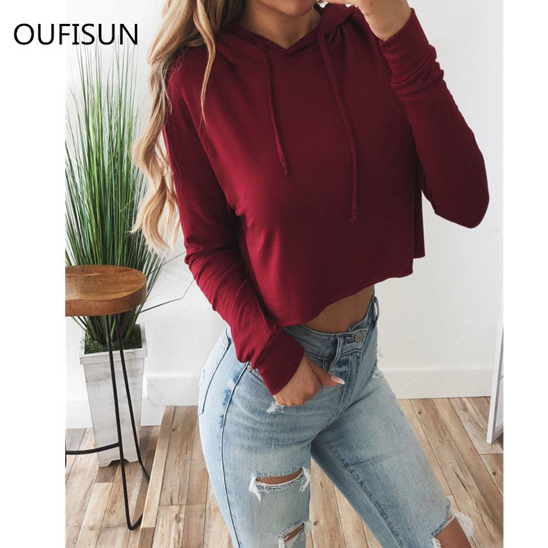 Oufisun Autumn Long Sleeve Hoodies Women Fashion Solid Crop Jumper Pullover Casual Loose Female Sweatshirt Streetwear Women Tops