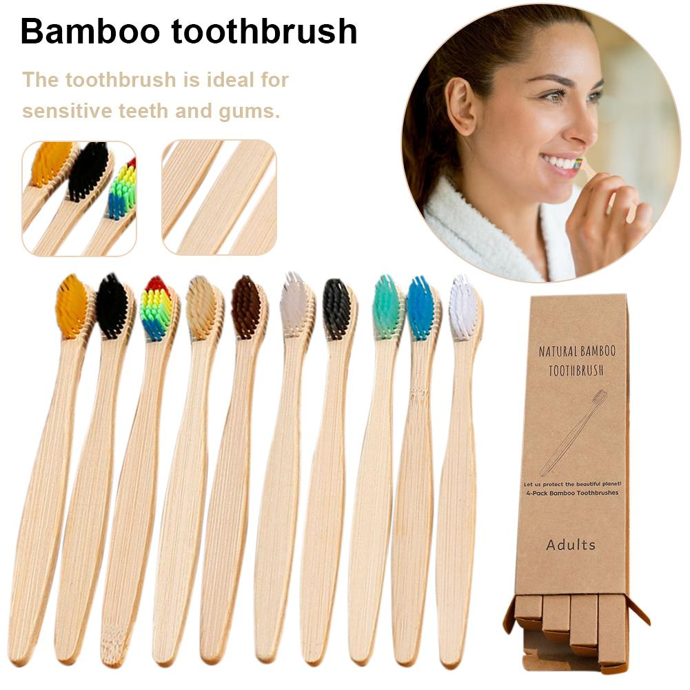 10Pcs Colorful Environment-friendly Bamboo Toothbrush Oral Care Bamboo Handle Soft Bristles Tooth Brush Whitening Toothbrush Hot
