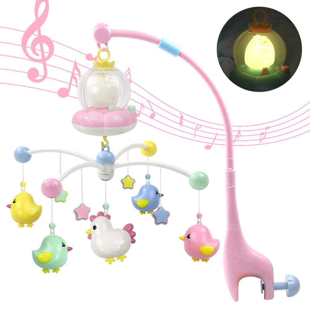 Marumine Baby Musical Mobile Crib Toy With Night Light & Music Bed Hanging Bell Holder Rattles For 0-12 Months Newborn Boys Girl
