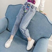 Новинка; модные рваные джинсы для девочек; длинные брюки; Детские рваные брюки; сезон весна-осень; детская одежда с цветными пуговицами; леггинсы для девочек