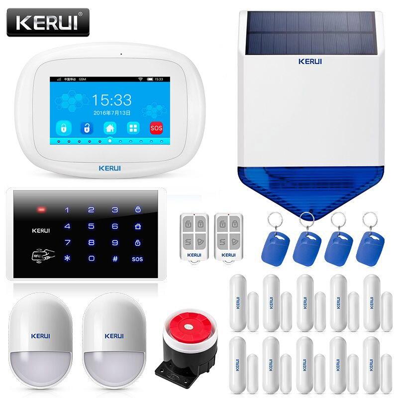 Kerui k52 wi fi gsm sistema de alarme terno 4.3 Polegada tft display a cores tela toque telefone inteligente app controle remoto sistema segurança em casa