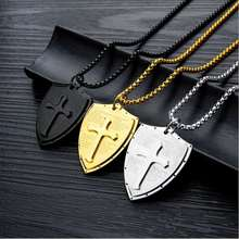 Men Titanium Steel Cross Shield Pendant Necklace so225