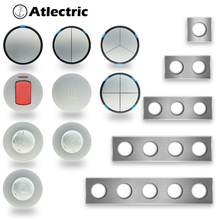 Atlectric Wall Light Switch Gray Brushed Panel LED Indicator 1/2/3 Gang 1/2 Way 20A Light Function Key Only DIY Free Combination