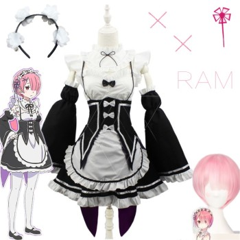 Anime Re:zero Kara Hajimeru Isekai Seikatsu Life In a Different World Ram Rem Cosplay Costume Maid Dress Wig Halloween Costume 2