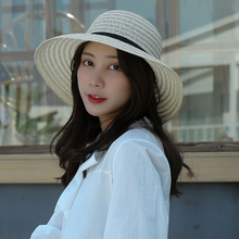 HT3060 Straw Hat Black Bowknot Band Beach Women Solid Wide Brim Bucket Lady Dome Spring Summer Sun Female Cap