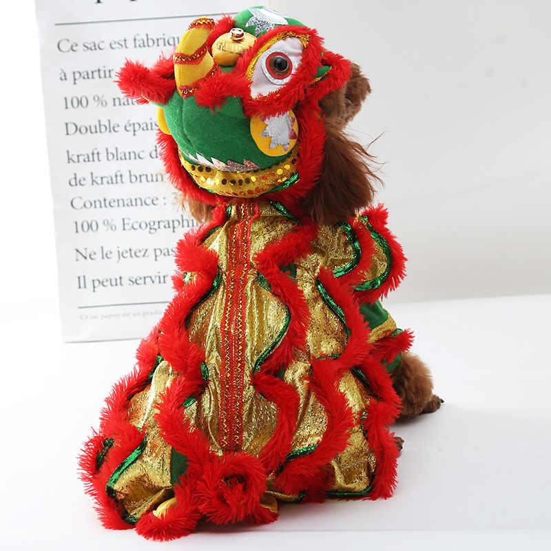 Nowy rok lew taniec zwierzęta kot kostiumy moda koty bluzy odzież zima dla zwierząt Roupinha Para Gato produkty dla zwierząt OO50JS